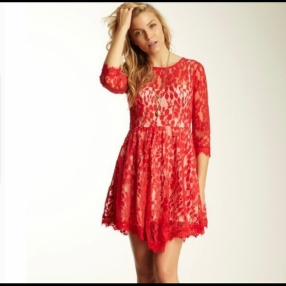 Free People Dresses & Skirts - Free People Hot Red Lace Dress